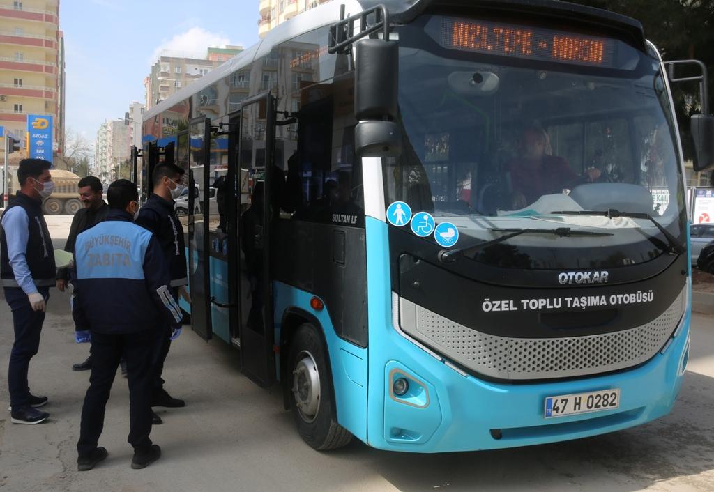Mardin'de toplu taşıma araçlarında korona virüs denetimi