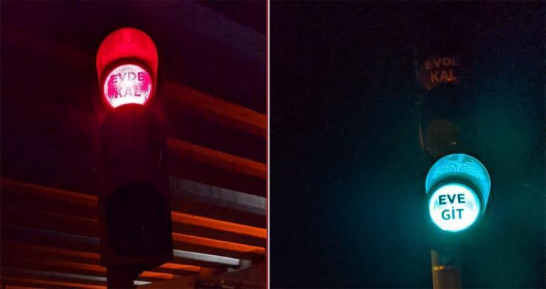 Kızıltepe'deki trafik ışıkları 'Evde kal' dedi