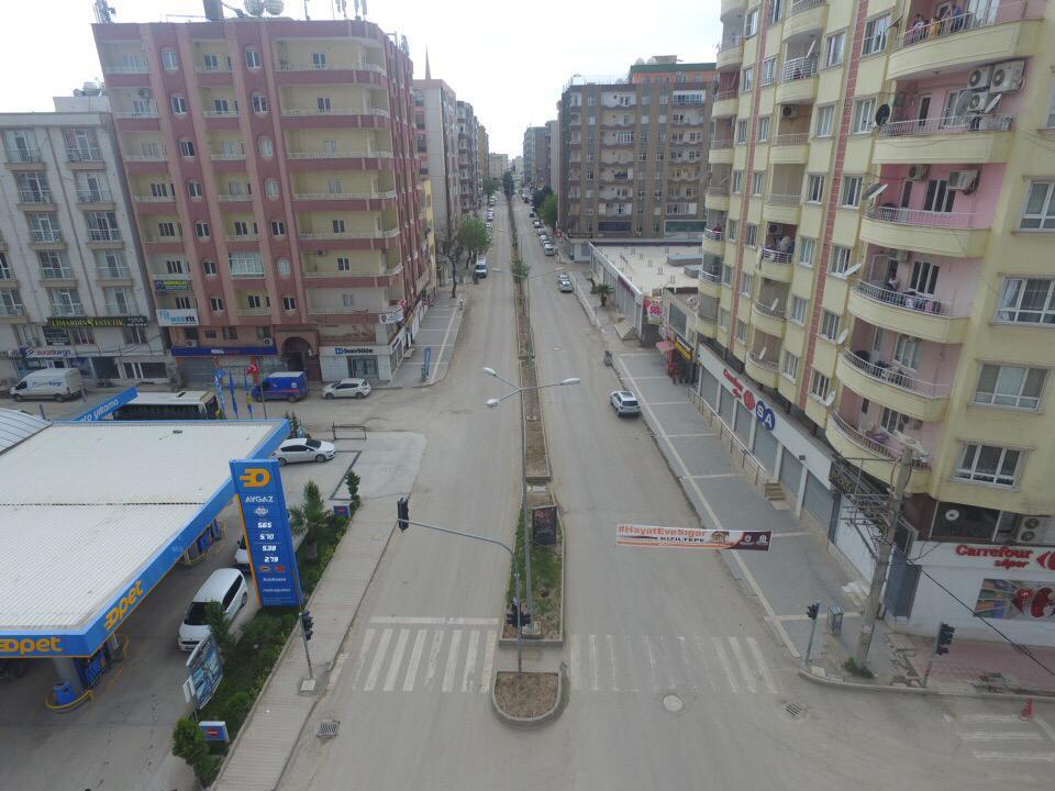 Sessizliğinin hakim olduğu Kızıltepe havadan görüntülendi