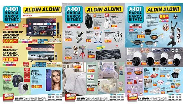 14 Ocak A101 aktüel kataloğu! Televizyon, akıllı saat, cep telefonu, züccaciye, gıda ürünleri..