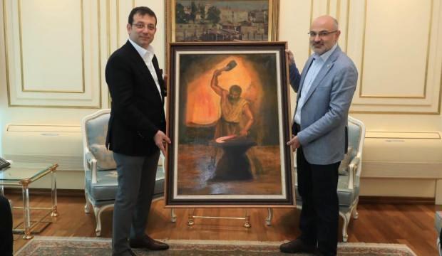 PKK'nın sembolü! İmamoğlu, HDP'nin hediye ettiği tabloyu kabul etti
