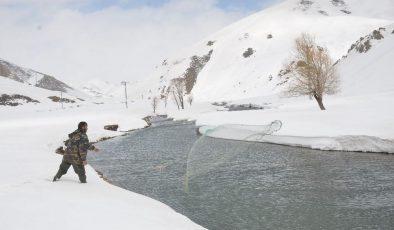 Şırnak'ta donan dere yatakları çözülünce vatandaşlar buz gibi suda balık avına çıktı