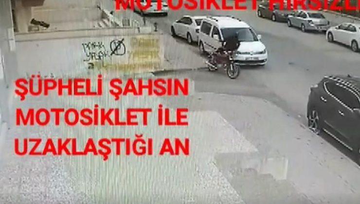 16 suç kaydı bulunan motosiklet hırsızı kamerada