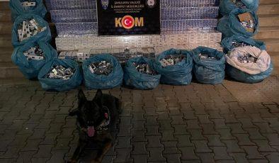 İhbar üzerine durdurulan kamyonette 10 bin 400 paket kaçak sigara ele geçirildi