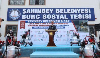 Şahinbey'den çiftçilere 242 adet süt sağım makinesi
