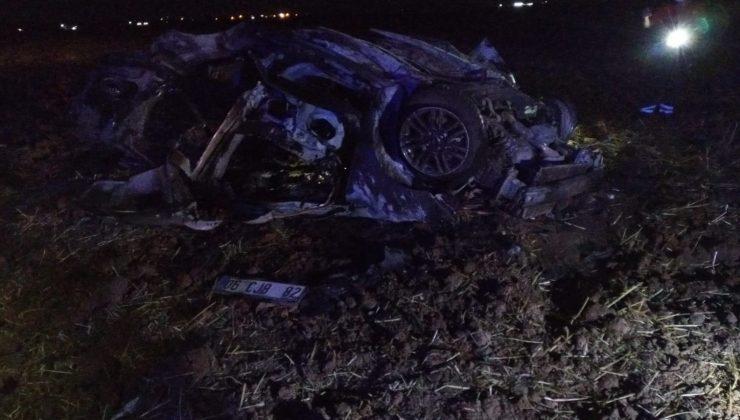 Mardin'de takla atan araç alev aldı: 2 ölü